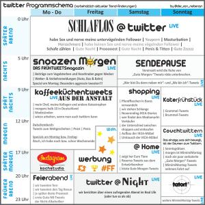 Das Programmschema der deutschsprachigen Twittergemeinde - wie es @der_von_nebenan getwittert hat